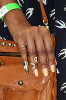 """LOS ANGELES - AUG 5:  Close up of Samantha Mumba's Finger Jewelry as she arrives at the """"ParaNorman"""" Premiere at Universal CityWalk on August 5, 2012 in Universal City, CA ©mpi27/MediaPunch Inc"""