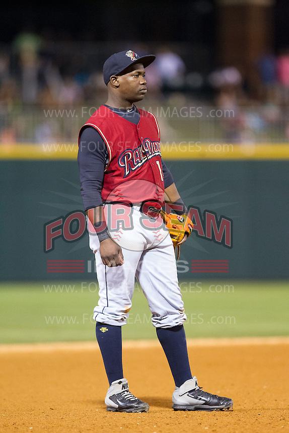 Scranton/Wilkes-Barre RailRiders third baseman Adonis Garcia (10) on defense against the Charlotte Knights at BB&T Ballpark on July 17, 2014 in Charlotte, North Carolina.  The Knights defeated the RailRiders 9-5.  (Brian Westerholt/Four Seam Images)