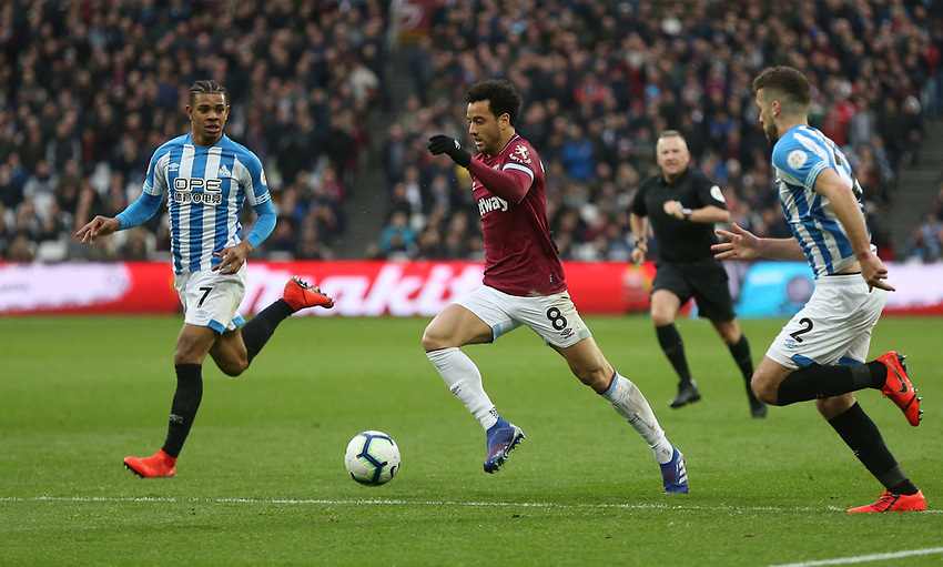 West Ham United's Felipe Anderson<br /> <br /> Photographer Rob Newell/CameraSport<br /> <br /> The Premier League - West Ham United v Huddersfield Town - Saturday 16th March 2019 - London Stadium - London<br /> <br /> World Copyright © 2019 CameraSport. All rights reserved. 43 Linden Ave. Countesthorpe. Leicester. England. LE8 5PG - Tel: +44 (0) 116 277 4147 - admin@camerasport.com - www.camerasport.com