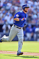 Chicago Cubs second baseman Ben Zobrist (18) runs to first during a game against the Atlanta Braves at Turner Field on June 11, 2016 in Atlanta, Georgia. The Cubs defeated the Braves 8-2. (Tony Farlow/Four Seam Images)