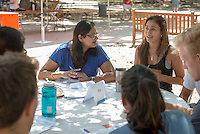 Treena Basu, Assistant Professor, Mathematics. Incoming first years meet with their faculty advisors during the Major Information Sessions & Advising part of Orientation in the Academic Quad, Aug. 24, 2015.<br /> (Photo by Marc Campos, Occidental College Photographer)
