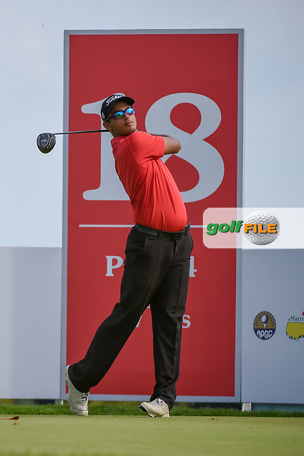 Kshitij Naveed KAUL (IND) watches his tee shot on 18 during Rd 1 of the Asia-Pacific Amateur Championship, Sentosa Golf Club, Singapore. 10/4/2018.<br /> Picture: Golffile | Ken Murray<br /> <br /> <br /> All photo usage must carry mandatory copyright credit (© Golffile | Ken Murray)