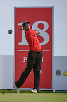 Kshitij Naveed KAUL (IND) watches his tee shot on 18 during Rd 1 of the Asia-Pacific Amateur Championship, Sentosa Golf Club, Singapore. 10/4/2018.<br /> Picture: Golffile | Ken Murray<br /> <br /> <br /> All photo usage must carry mandatory copyright credit (&copy; Golffile | Ken Murray)