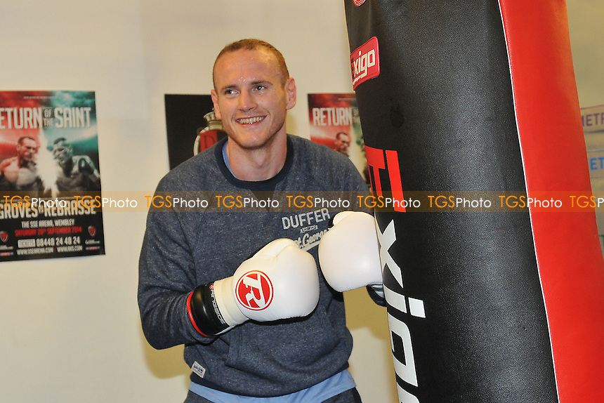 George Groves performs a workout for the media ahead of his fight with Christopher Rebrasse at Wembley Arena - 16/09/14 - MANDATORY CREDIT: Philip Sharkey/TGSPHOTO - Self billing applies where appropriate - contact@tgsphoto.co.uk - NO UNPAID USE