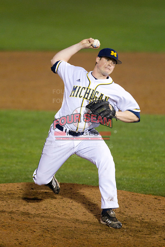 Michigan Wolverines pitcher Alex Lakatos #30 delivers a pitch during a game against the Pittsburgh Panthers at the Big Ten/Big East Challenge at Florida Auto Exchange Stadium on February 18, 2012 in Dunedin, Florida.  (Mike Janes/Four Seam Images)