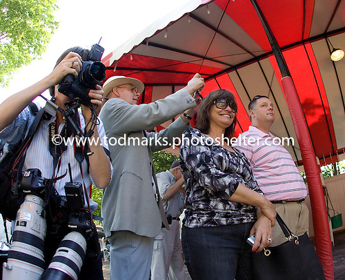 Rachel Alexandra schools in the paddock two days before the Woodward Stakes at Saratoga.
