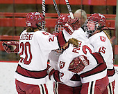Kate Buesser (Harvard - 20), ?, Josephine Pucci (Harvard - 2) and Katharine Chute (Harvard - 15)  celebrate Buesser's goal. - The Harvard University Crimson defeated the St. Lawrence University Saints 8-3 (EN) to win their ECAC Quarterfinals on Saturday, February 26, 2011, at Bright Hockey Center in Cambridge, Massachusetts.