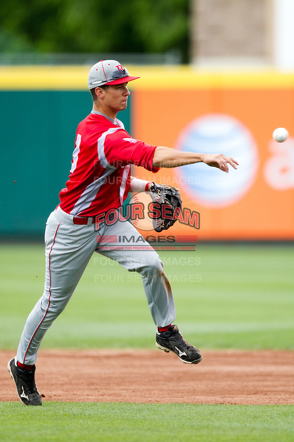 David Compitello (8) of the Bradley Braves throws to first base during a game against the Missouri State Bears on May 13, 2011 at Hammons Field in Springfield, Missouri.  Photo By David Welker/Four Seam Images