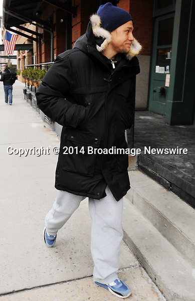 Pictured: Charlie Hunnam<br /> Mandatory Credit &copy; Jayme Oak/Broadimage <br /> Charlie Hunnam walking around in a cold day in downtown  Manhattan<br /> <br /> 1/29/14, New York, New York, United States of America<br /> <br /> Broadimage Newswire<br /> Los Angeles 1+  (310) 301-1027<br /> New York      1+  (646) 827-9134<br /> sales@broadimage.com<br /> http://www.broadimage.com