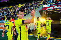 Phoenix captain Steven Taylor thanks fans after the A-League football match between Wellington Phoenix and Melbourne Victory FC at Sky Stadium in Wellington, New Zealand on Sunday, 15 March 2020. Photo: Dave Lintott / lintottphoto.co.nz