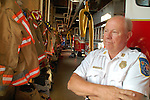 staff photo by Phil Grout..Capt. Bill Bragg looks back on more three decades of service with the.Baltimore County Fire Department.  He will retire September 1 out of.Station 4 in Catonsville.
