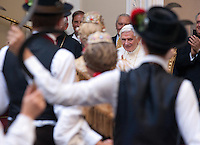 Honorary evening for Pope Benedict XVI. for his 85th Birthday in the courtyard of the papal summer residence at Castel Gandolfo in Italy, with costumes clubs from all over Bavaria. Castel Gandolfo, Italy, 03.08.2012...Credit: Nickels/face to face / Mediapunchinc  - ***online only for weekly magazines**** /NortePhoto.com<br />