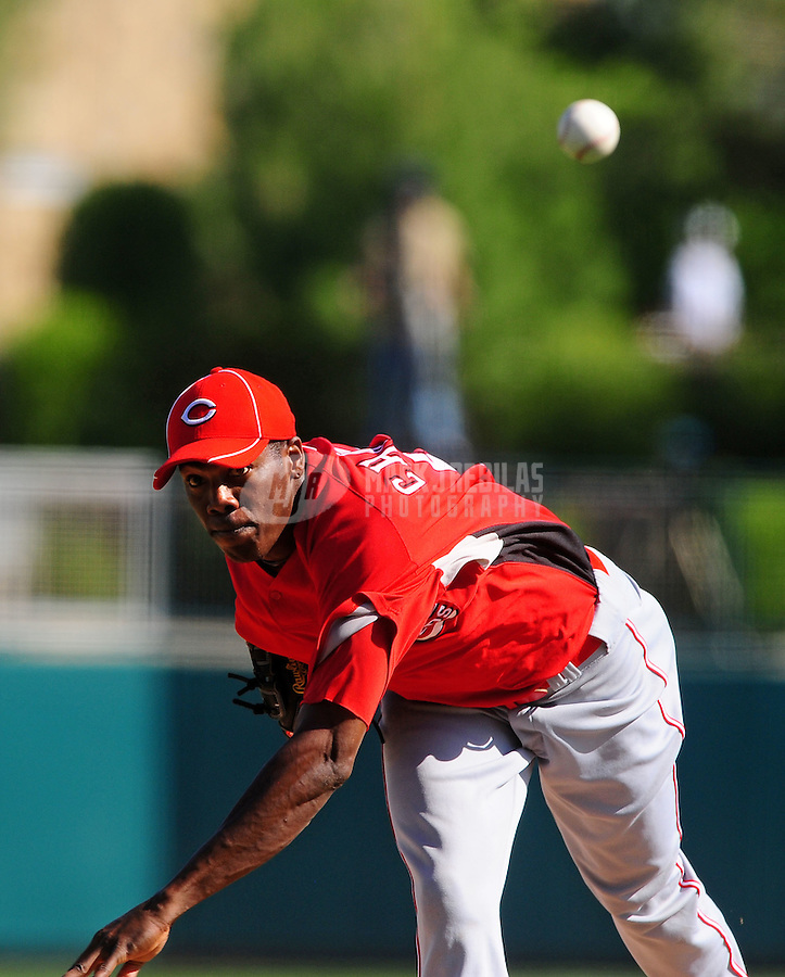 Mar. 12, 2010; Glendale, AZ, USA; Cincinnati Reds pitcher Aroldis Chapman throws against the Los Angeles Dodgers at The Ballpark at Camelback Ranch. Mandatory Credit: Mark J. Rebilas-