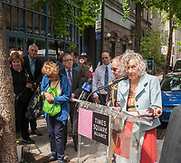Laura Maioglio, owner of Barbetta speaks at the unveiling of the new wayfinding kiosks that stand at either end of Restaurant Row in New York, West 46th street between 8th and 9th Avenues, on Tuesday May 16, 2017. At least four years in the making the illuminated kiosks show the names of the many eateries that populate the street. The unveiling is just in time for the Taste of Times Square event taking place on the street on June 5. Barbetta was founded in 1906 making it the oldest restaurant in the Theater District.(© Richard B. Levine)
