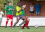 2018-08-12 / Voetbal / seizoen 2018 -2019 / KFC Houtvenne - RC Villers la Ville/ Aurlien Tuzolana (l.RC Villers La Ville) met Joren Boeckx ,Foto: Mpics.be