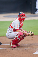 Andrew Knapp (16) of the Lakewood BlueClaws on defense against the Kannapolis Intimidators at CMC-NorthEast Stadium on July 19, 2014 in Kannapolis, North Carolina.  The Intimidators defeated the BlueClaws 8-4. (Brian Westerholt/Four Seam Images)
