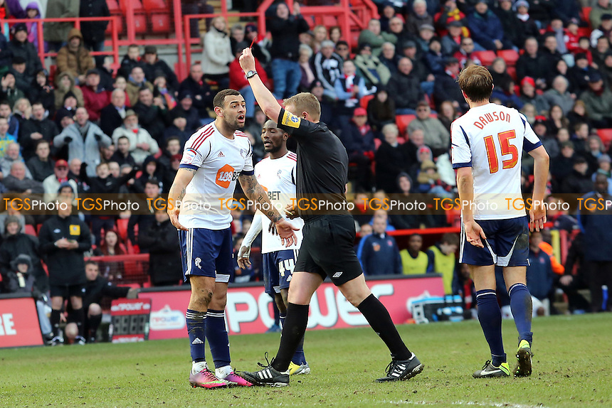 Bolton's Craig Davies is shown a red card - Charlton Athletic vs Bolton Wanderers - NPower Championship Football at the Valley, London - 30/03/13 - MANDATORY CREDIT: Paul Dennis/TGSPHOTO - Self billing applies where appropriate - 0845 094 6026 - contact@tgsphoto.co.uk - NO UNPAID USE.