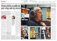 Dagens Nyheter (main Swedish daily) on the closing down of oppositional Klub Radio,<br /> Budapest, Hungary, 02.2012<br /> Pictures: Martin Fejer