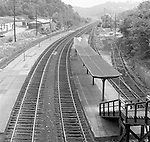 Corliss PA - View of the PA Railroad station at Corliss Pennsylvania.  The assignment was for the PA Railroad due to a train derailment near the station - 1964.  Brady Stewart Studio was a contract photography studio for the railroad from 1955 through 1965.