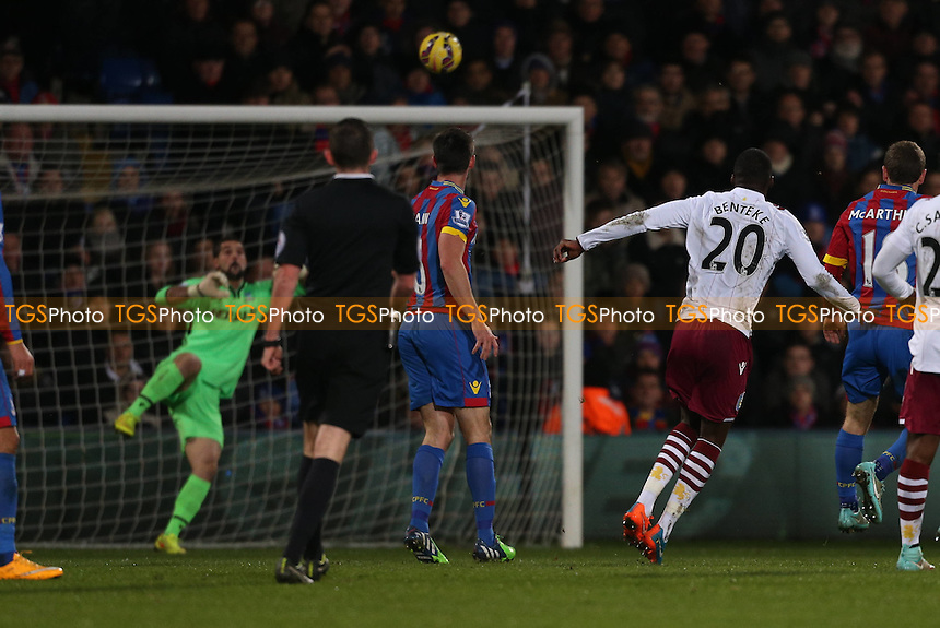 Christian Benteke of Aston Villa tests Julian Speroni of Crystal Palace with a shot from outside the box - Crystal Palace vs Aston Villa - Barclays Premier League Football at Selhurst Park, London - 02/12/14 - MANDATORY CREDIT: Simon Roe/TGSPHOTO - Self billing applies where appropriate - contact@tgsphoto.co.uk - NO UNPAID USE