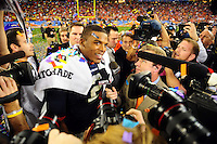Jan 10, 2011; Glendale, AZ, USA; Auburn Tigers quarterback Cameron Newton (2) talks with reporters after defeating the Oregon Ducks 22-19 in the 2011 BCS National Championship game at University of Phoenix Stadium.  Mandatory Credit: Mark J. Rebilas-