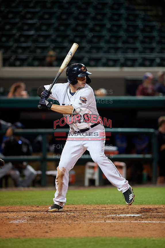 Lakeland Flying Tigers designated hitter Daniel Reyes (20) during a Florida State League game against the Tampa Tarpons on April 5, 2019 at Publix Field at Joker Marchant Stadium in Lakeland, Florida.  Lakeland defeated Tampa 5-3.  (Mike Janes/Four Seam Images)
