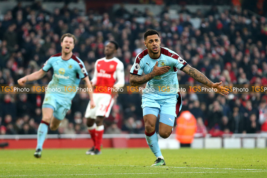 Andre Gray of Burnley celebrates scoring the opening Burnley goal from the penalty spotd uring Arsenal vs Burnley, Premier League Football at the Emirates Stadium on 22nd January 2017