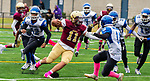 WATERBURY,  CT-101219JS29- Sacred Heart-Kaynor's Alex Gonzalez (11) tries to find running room during their game against Crosby Saturday at Municipal Stadium in Waterbury.<br /> Jim Shannon Republican-American