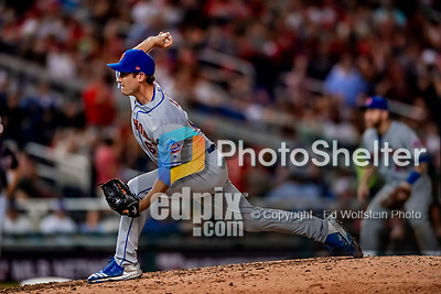 21 September 2018: New York Mets pitcher Seth Lugo on the mound in the 8th inning against the Washington Nationals at Nationals Park in Washington, DC. The Mets defeated the Nationals 4-2 in the second game of their 4-game series. Mandatory Credit: Ed Wolfstein Photo *** RAW (NEF) Image File Available ***