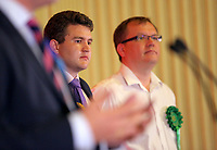 Pictured L-R: Michael O'Carroll Liberal Democrat and Mike Whittall of the Green Party Friday 09 June 2017<br /> Re: Counting of ballots at Brangwyn Hall for the general election in Swansea, Wales, UK