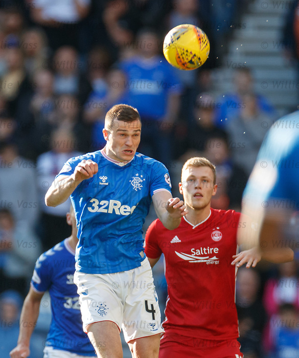 28.09.2018 Rangers v Aberdeen: George Edmundson and Sam Cosgrove