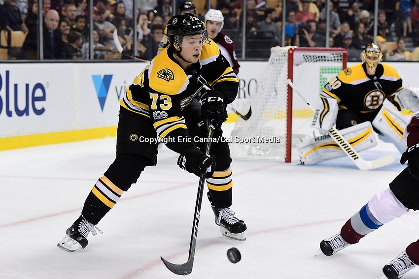 October 9, 2017: Boston Bruins defenseman Charlie McAvoy (73) plays the puck during the NHL game between the Colorado Avalanche and the Boston Bruins held at TD Garden, in Boston, Mass. Colorado defeats Boston 4-0. Eric Canha/CSM