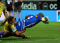 Bongi Mbonambi scores during the Super Rugby match between the Hurricanes and Stormers at Westpac Stadium in Wellington, New Zealand on Saturday, 23 March 2019. Photo: Dave Lintott / lintottphoto.co.nz