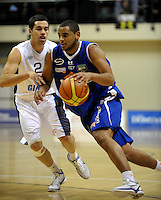 Saints guard Corey Webster drives past Josh Bloxham. NBL - Wellington Saints v Nelson Giants at TSB Bank Arena, Wellington, New Zealand on Thursday, 19 May 2011. Photo: Dave Lintott / lintottphoto.co.nz
