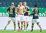 ***BETALBILD***  <br /> Solna 2015-05-31 Fotboll Allsvenskan AIK - Helsingborgs IF :  <br /> AIK:s Nabil Bahoui med bar &ouml;verkropp firar sitt 2-1 m&aring;l med Anton J&ouml;nsson Sal&eacute;tros , Alessandro Pereira och Ebenezer Ofori under matchen mellan AIK och Helsingborgs IF <br /> (Foto: Kenta J&ouml;nsson) Nyckelord:  AIK Gnaget Friends Arena Allsvenskan Helsingborg HIF jubel gl&auml;dje lycka glad happy matchtr&ouml;ja tr&ouml;ja