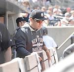 Masahiro Tanaka (Yankees), APRIL 29, 2015 - MLB : Masahiro Tanaka of the New York Yankees in the dugout during the Major League Baseball game against the Tampa Bay Rays at Yankee Stadium in the Bronx, New York, United States. (Photo by AFLO)