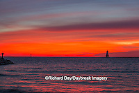 64795-01101 Ludington North Pierhead Lighthouse at sunset on Lake Michigan, Mason County, Ludington, MI