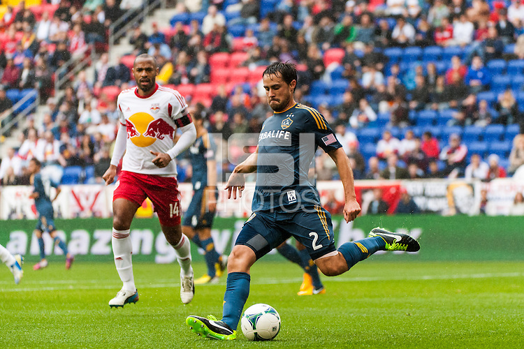 Todd Dunivant (2) of the Los Angeles Galaxy. The New York Red Bulls defeated the Los Angeles Galaxy 1-0 during a Major League Soccer (MLS) match at Red Bull Arena in Harrison, NJ, on May 19, 2013.