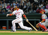 Second baseman Jose Garcia (7) of the Greenville Drive in a game against the Lakewood BlueClaws on Opening Day, April 5, 2012, at Fluor Field at the West End in Greenville, South Carolina. (Tom Priddy/Four Seam Images)