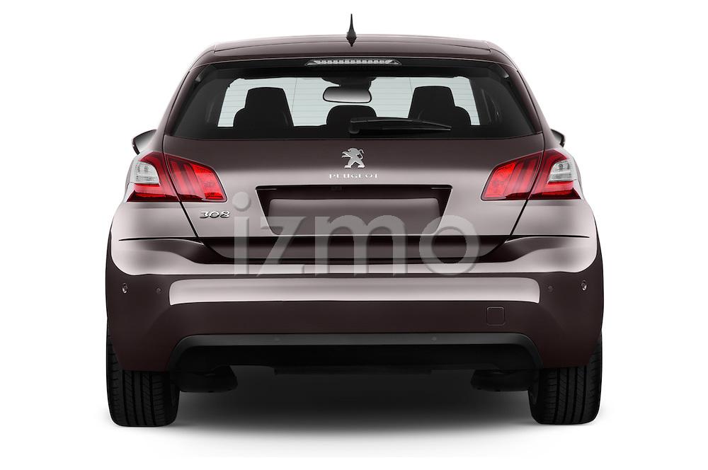 Straight rear view of 2015 Peugeot 308 Feline 5 Door Hatchback Rear View  stock images