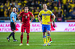 Solna 2013-11-19 Fotboll VM-kval Playoff , Sverige - Portugal :  <br /> Sverige Zlatan Ibrahimovic och Portugal Pepe <br /> (Photo: Kenta J&ouml;nsson) Keywords:  Sweden Portugal portr&auml;tt portrait