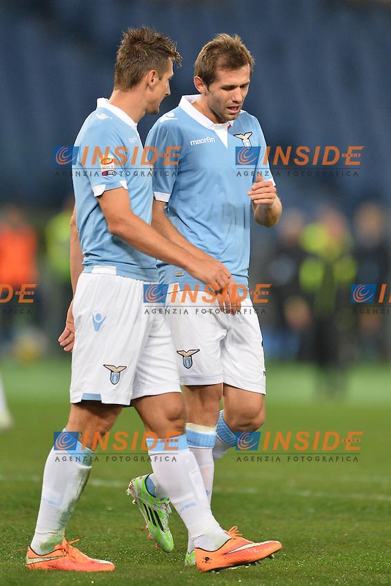 Miroslav Klose e Senad Lulic Lazio.<br /> Roma 3-11-2014 Stadio Olimpico. Football Calcio 2014/2015 Serie A. Lazio - Cagliari. Foto Antonietta Baldassarre / Insidefoto