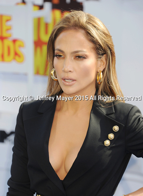 LOS ANGELES, CA - APRIL 12: Actress/singer Jennifer Lopez arrives at the 2015 MTV Movie Awards at Nokia Theatre L.A. Live on April 12, 2015 in Los Angeles, California.