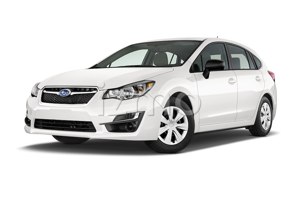 Stock pictures of low aggressive front three quarter view of a 2015 Subaru Impreza 2.0I Auto 4 Door Hatchback Low Aggressive