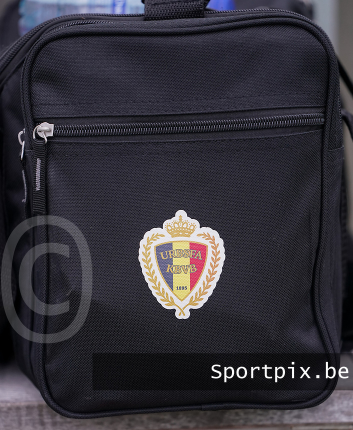 20191101 - Tubize: Illustration picture shows a bag of the Belgian Footbal Federation  pictured during the international friendly match between Red Flames U16 (Belgium) and Norway U16 on 1 November 2019 at Belgian Football Centre, Tubize. PHOTO:  SPORTPIX.BE | SEVIL OKTEM