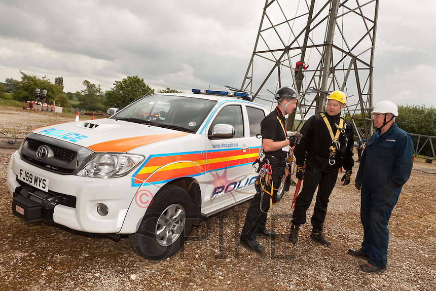 Leicestershire Police Tactical Support Group practice working at heights with the help of National Grid's training centre at Eakring, Nottinghamshire
