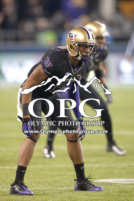 NOV 10, 2012:  Washington's Marcus Peters against Utah.  Washington defeated Utah  34-15 at CenturyLink Field in Seattle, WA...
