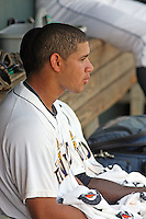 Charleston Riverdogs catcher Gary Sanchez #35 in the dugout during a game against the Delmarva Shorebirds at Joseph P. Riley Ballpark in Charleston, South Carolina on July 10, 2011. Charleston defeated Delmarva 2-0.   Robert Gurganus/Four Seam Images