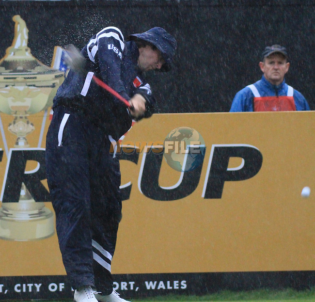 2010 Ryder Cup at the Celtic Manor twenty ten course, Newport Wales, 1/10/2010 on day one of play.Bubba Watson teeing off on the first in the morning four ball..Picture Fran Caffrey/www.golffile.ie.