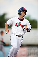Fort Myers Miracle first baseman Trey Vavra (33) running the bases during a game against the Brevard County Manatees on April 13, 2016 at Hammond Stadium in Fort Myers, Florida.  Fort Myers defeated Brevard County 3-0.  (Mike Janes/Four Seam Images)